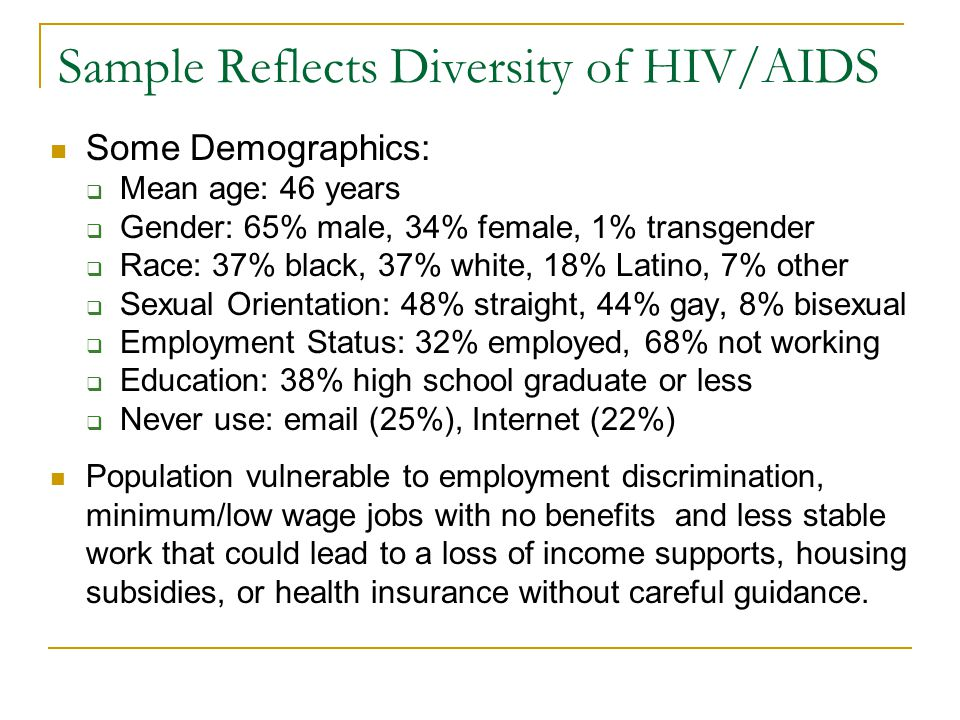 Sample Reflects Diversity of HIV/AIDS Some Demographics: Mean age: 46 years Gender: 65% male, 34% female, 1% transgender Race: 37% black, 37% white, 18% Latino, 7% other Sexual Orientation: 48% straight, 44% gay, 8% bisexual Employment Status: 32% employed, 68% not working Education: 38% high school graduate or less Never use:  (25%), Internet (22%) Population vulnerable to employment discrimination, minimum/low wage jobs with no benefits and less stable work that could lead to a loss of income supports, housing subsidies, or health insurance without careful guidance.