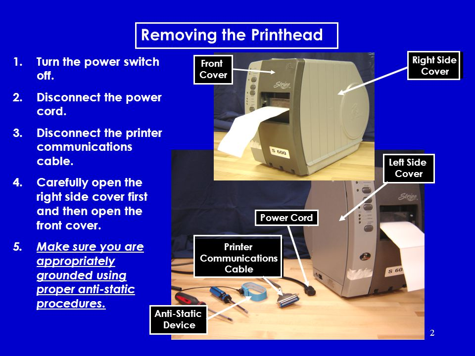 2 Removing the Printhead 1.Turn the power switch off.