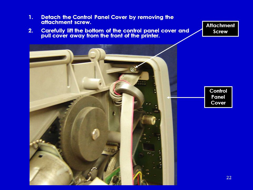 22 1.Detach the Control Panel Cover by removing the attachment screw.