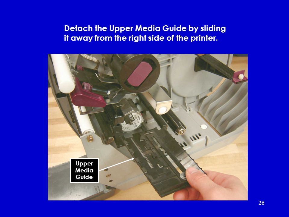 26 Media sensor assembly Detach the Upper Media Guide by sliding it away from the right side of the printer.