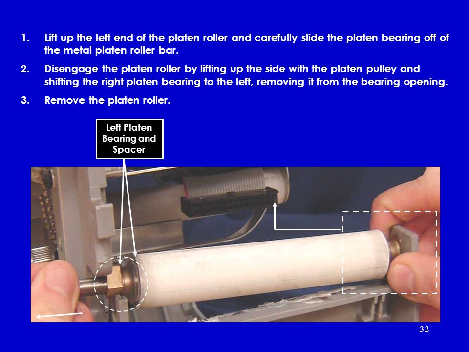32 1.Lift up the left end of the platen roller and carefully slide the platen bearing off of the metal platen roller bar.
