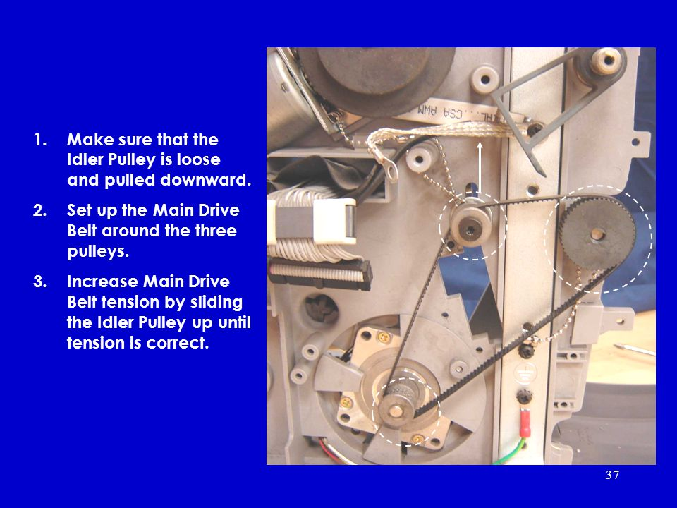 37 1.Make sure that the Idler Pulley is loose and pulled downward.