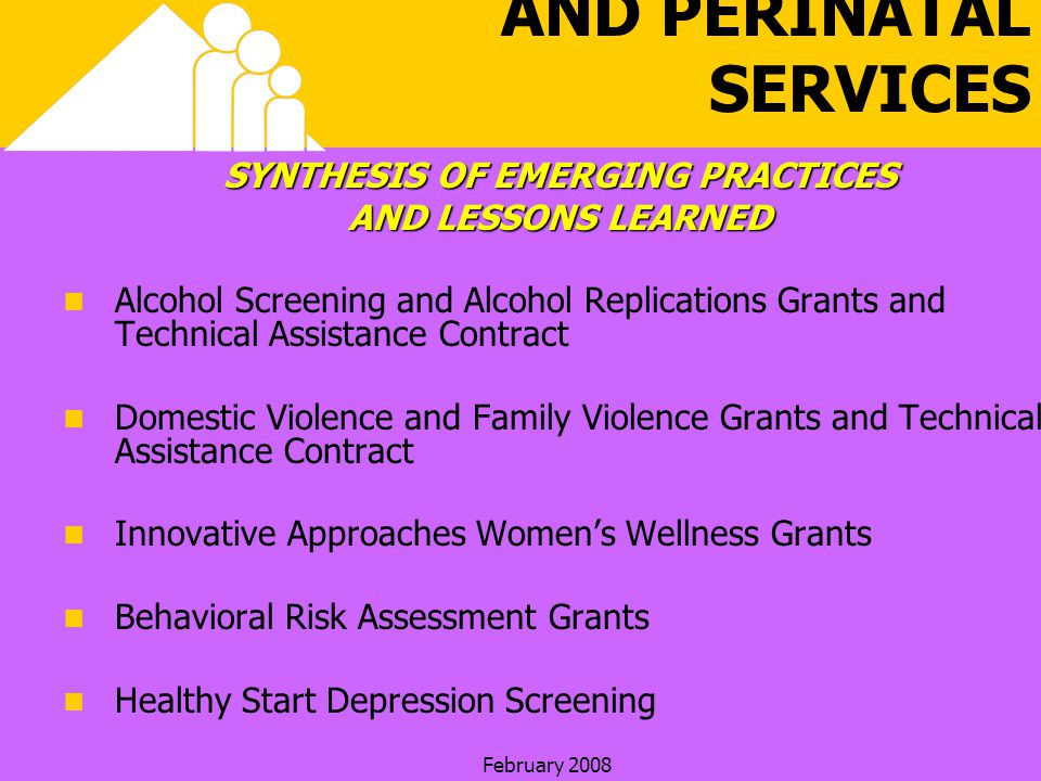 February 2008 HEALTHY START AND PERINATAL SERVICES SYNTHESIS OF EMERGING PRACTICES AND LESSONS LEARNED Alcohol Screening and Alcohol Replications Grants and Technical Assistance Contract Domestic Violence and Family Violence Grants and Technical Assistance Contract Innovative Approaches Womens Wellness Grants Behavioral Risk Assessment Grants Healthy Start Depression Screening