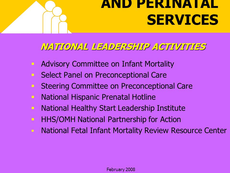 February 2008 HEALTHY START AND PERINATAL SERVICES NATIONAL LEADERSHIP ACTIVITIES Advisory Committee on Infant Mortality Select Panel on Preconceptional Care Steering Committee on Preconceptional Care National Hispanic Prenatal Hotline National Healthy Start Leadership Institute HHS/OMH National Partnership for Action National Fetal Infant Mortality Review Resource Center
