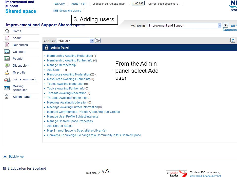 3. Adding users From the Admin panel select Add user