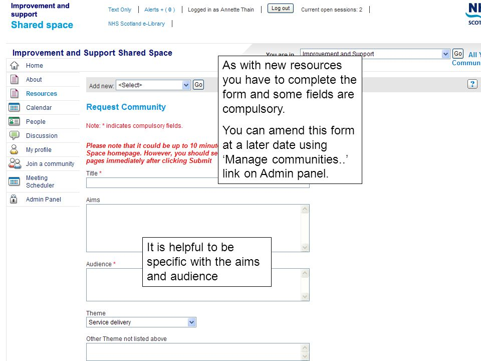As with new resources you have to complete the form and some fields are compulsory.
