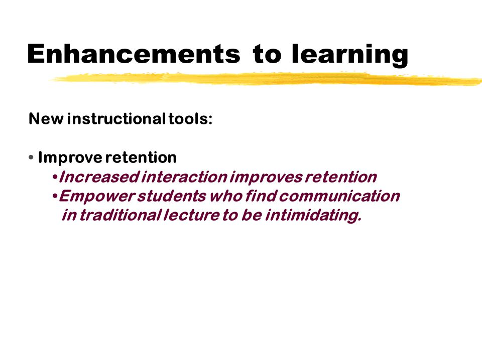 Enhancements to learning New instructional tools: Assist in the delivery of content knowledge to students.