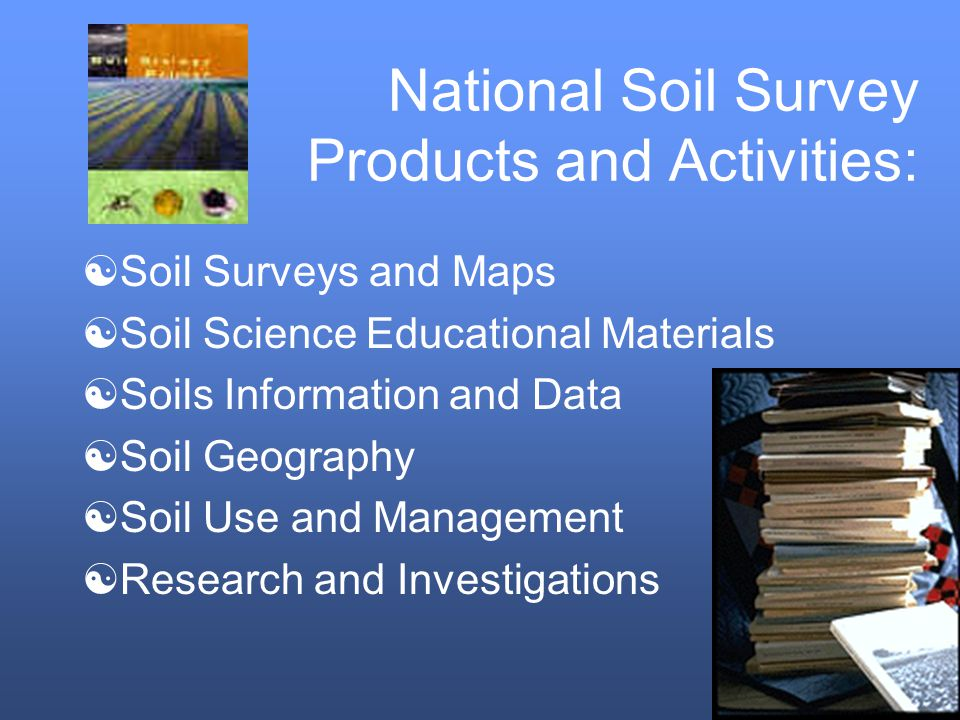 [Soil Surveys and Maps [Soil Science Educational Materials [Soils Information and Data [Soil Geography [Soil Use and Management [Research and Investigations National Soil Survey Products and Activities: