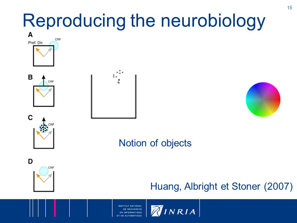 15 Reproducing the neurobiology Huang, Albright et Stoner (2007) Notion of objects