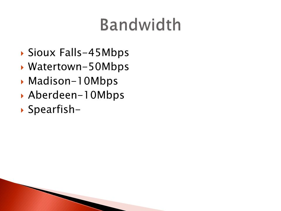 Sioux Falls-45Mbps Watertown-50Mbps Madison-10Mbps Aberdeen-10Mbps Spearfish-