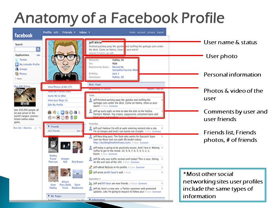 Anatomy of a Facebook Profile User name & status Personal information Photos & video of the user Comments by user and user friends Friends list, Friends photos, # of friends *Most other social networking sites user profiles include the same types of information User photo