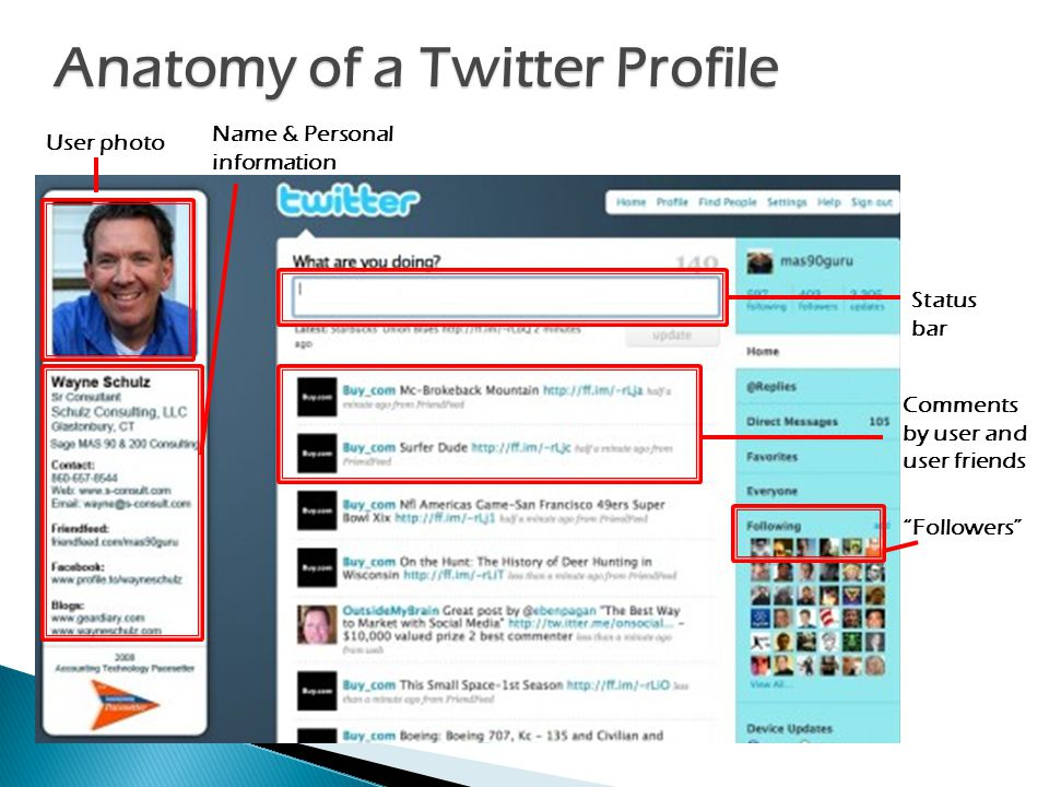 Anatomy of a Twitter Profile User photo Name & Personal information Comments by user and user friends Followers Status bar
