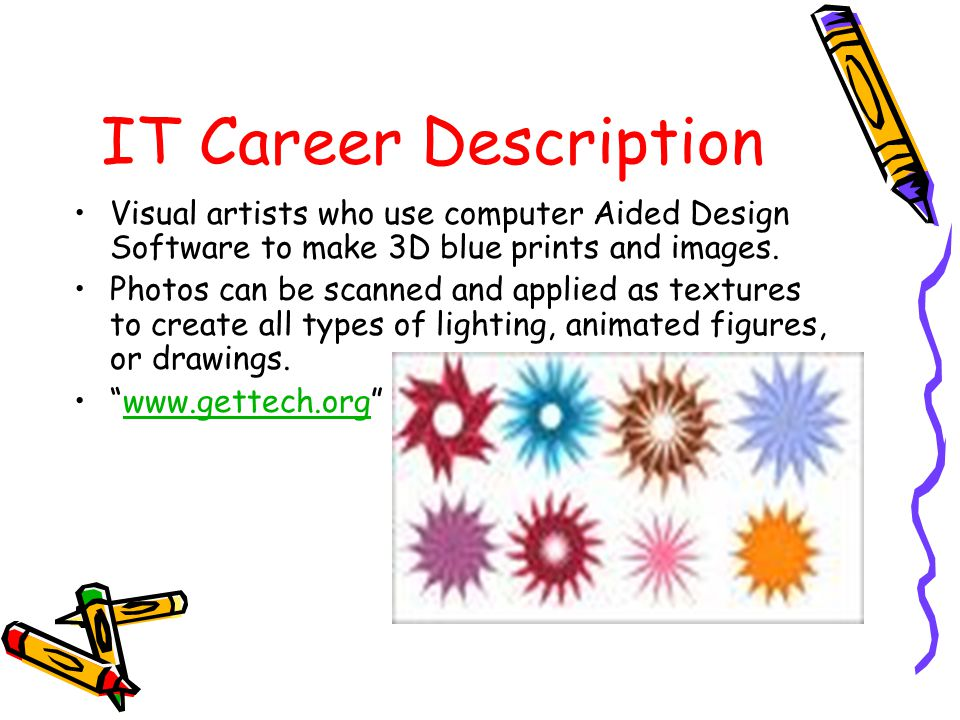 IT Career Description Visual artists who use computer Aided Design Software to make 3D blue prints and images.