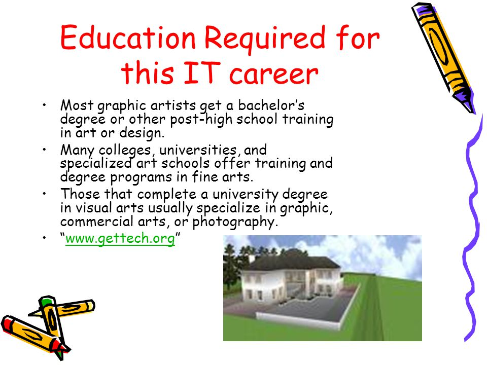 Education Required for this IT career Most graphic artists get a bachelors degree or other post-high school training in art or design.
