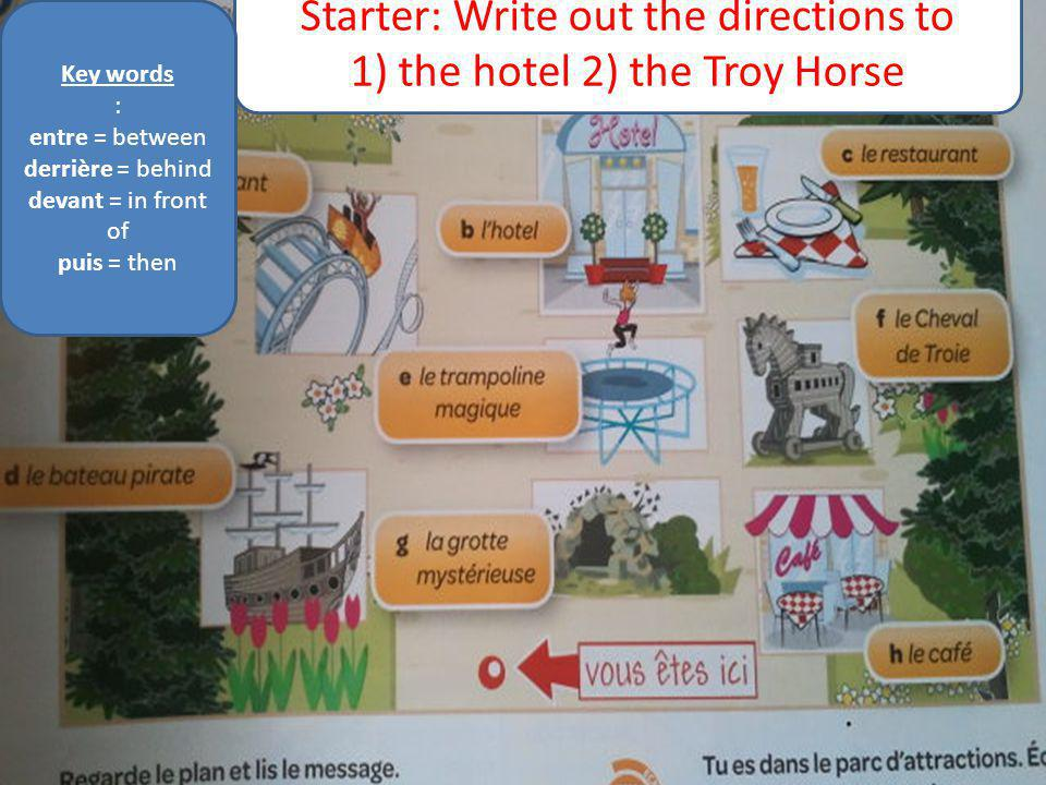 Starter: Write out the directions to 1) the hotel 2) the Troy Horse Key words : entre = between derrière = behind devant = in front of puis = then