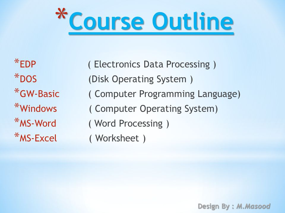 course outline edp electronics data processing dos disk