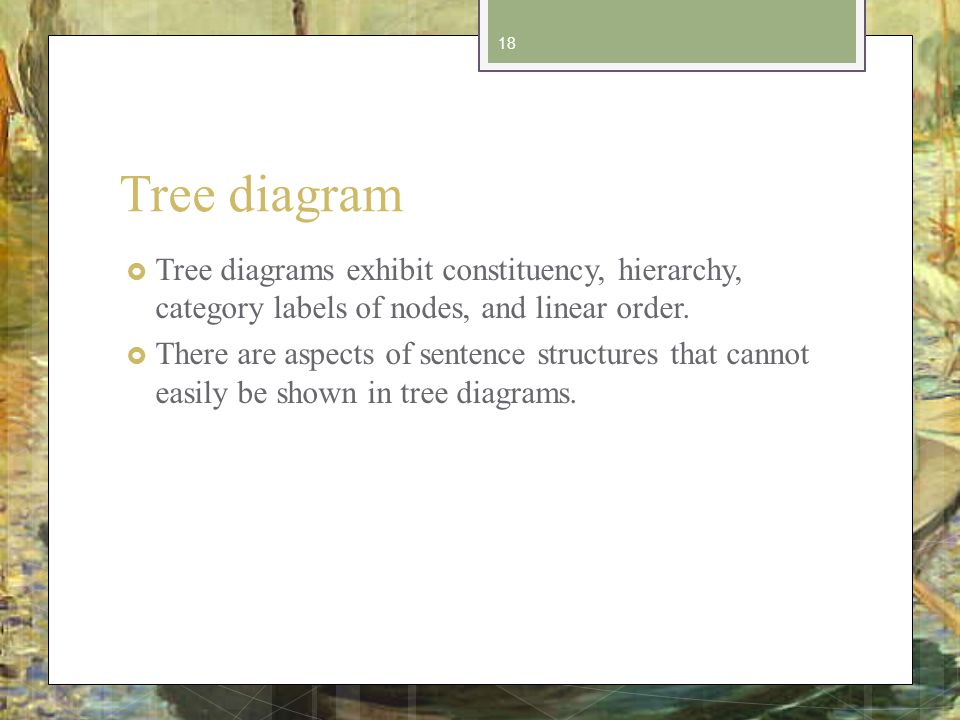 Tree diagram Tree diagrams exhibit constituency, hierarchy, category labels of nodes, and linear order.