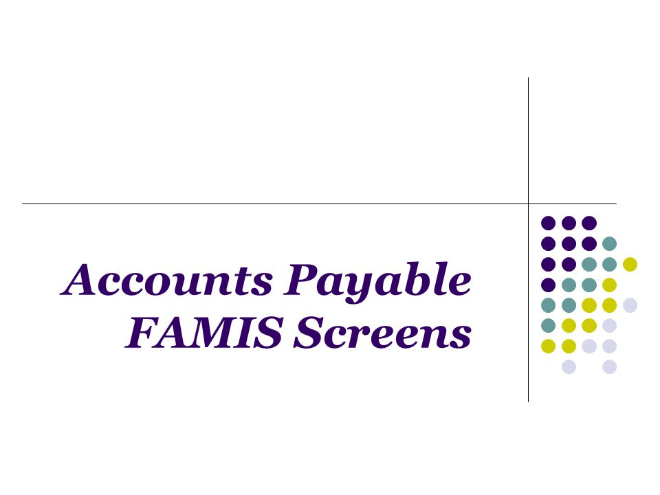 Accounts Payable FAMIS Screens