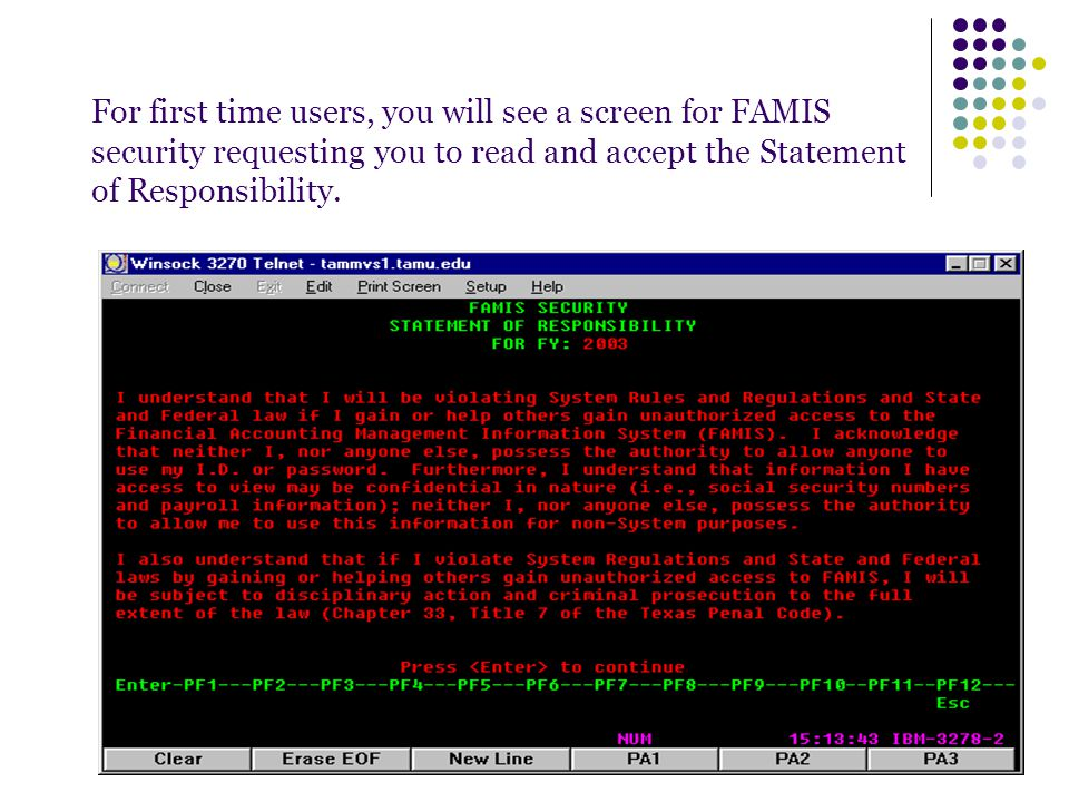 For first time users, you will see a screen for FAMIS security requesting you to read and accept the Statement of Responsibility.