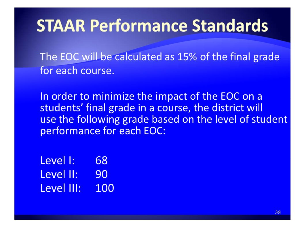 The EOC will be calculated as 15% of the final grade for each course.