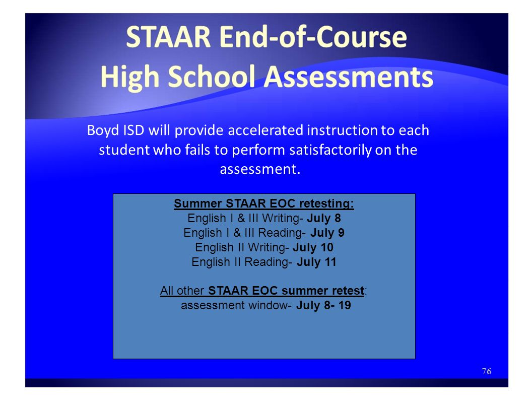 Boyd ISD will provide accelerated instruction to each student who fails to perform satisfactorily on the assessment.