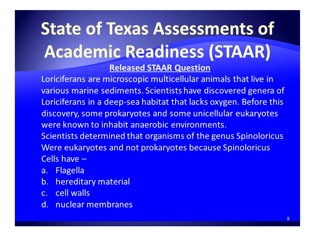 Released STAAR Question Loriciferans are microscopic multicellular animals that live in various marine sediments.