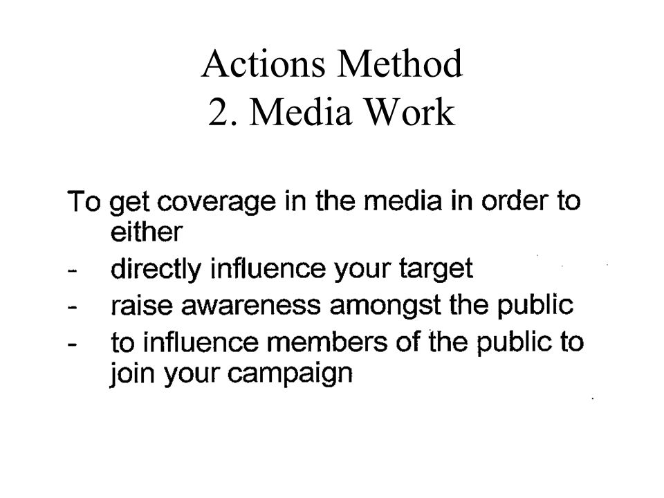 Actions Method 2. Media Work