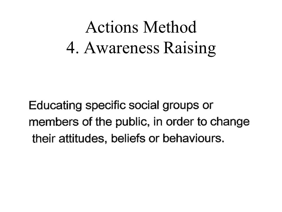 Actions Method 4. Awareness Raising