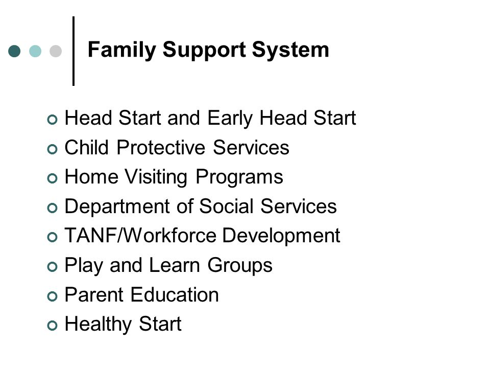 Family Support System Head Start and Early Head Start Child Protective Services Home Visiting Programs Department of Social Services TANF/Workforce Development Play and Learn Groups Parent Education Healthy Start