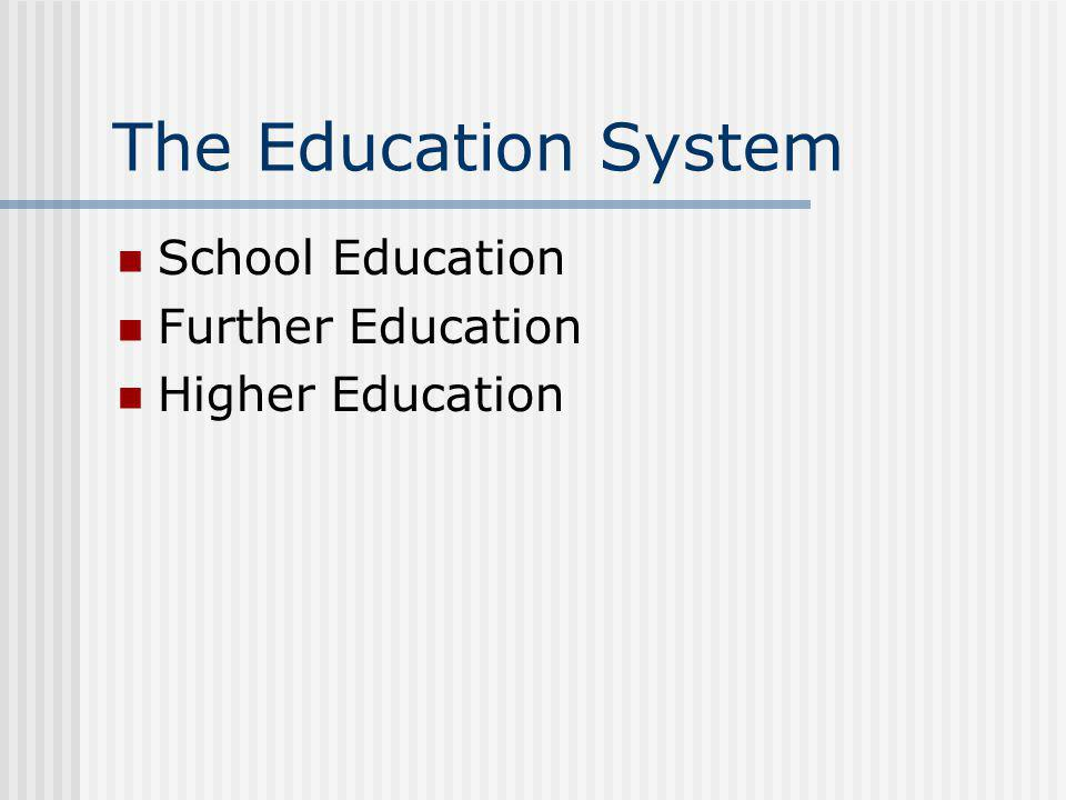 The Education System School Education Further Education Higher Education