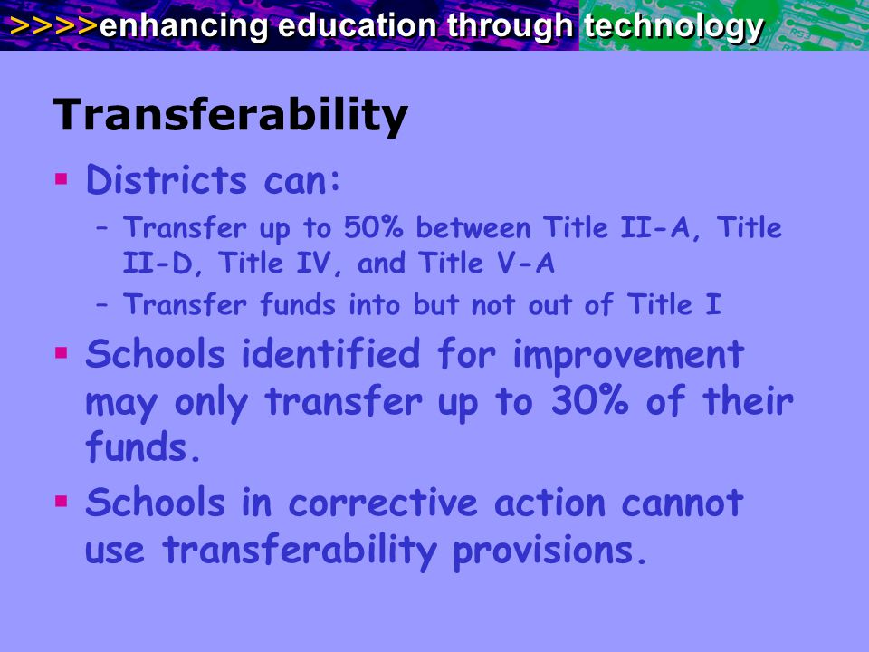 >>>> enhancing education through technology Transferability Districts can: –Transfer up to 50% between Title II-A, Title II-D, Title IV, and Title V-A –Transfer funds into but not out of Title I Schools identified for improvement may only transfer up to 30% of their funds.