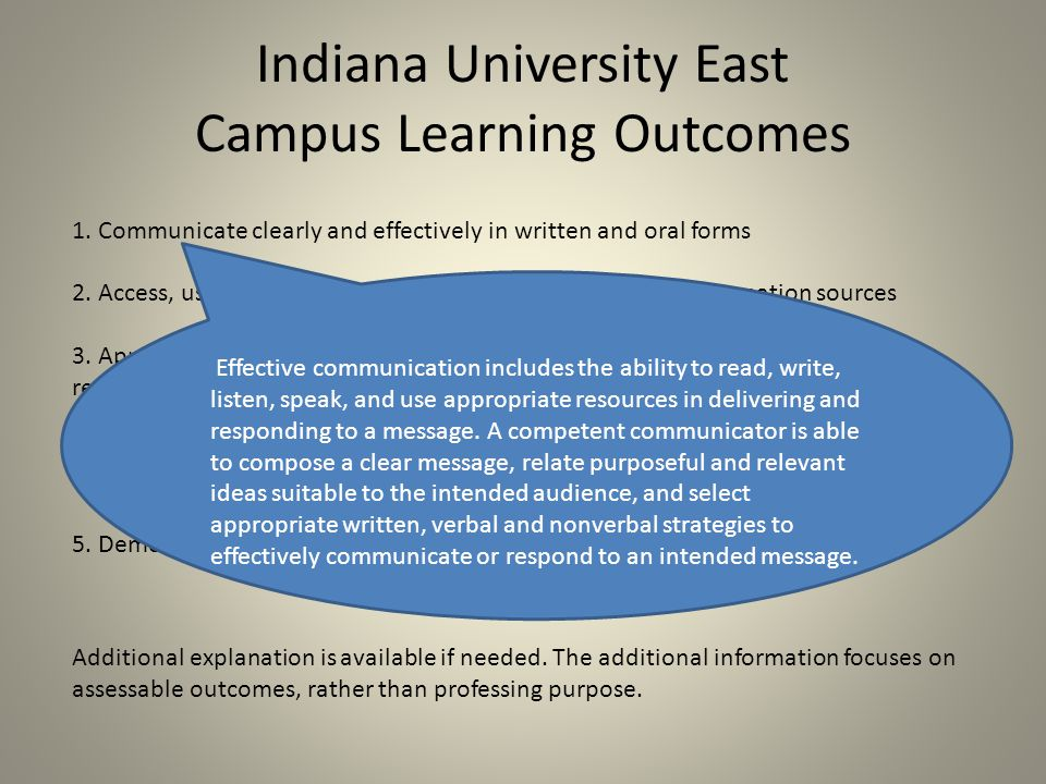 Indiana University East Campus Learning Outcomes 1.