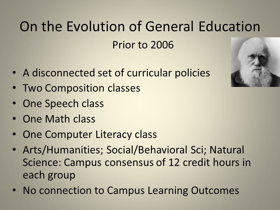 On the Evolution of General Education Prior to 2006 A disconnected set of curricular policies Two Composition classes One Speech class One Math class One Computer Literacy class Arts/Humanities; Social/Behavioral Sci; Natural Science: Campus consensus of 12 credit hours in each group No connection to Campus Learning Outcomes