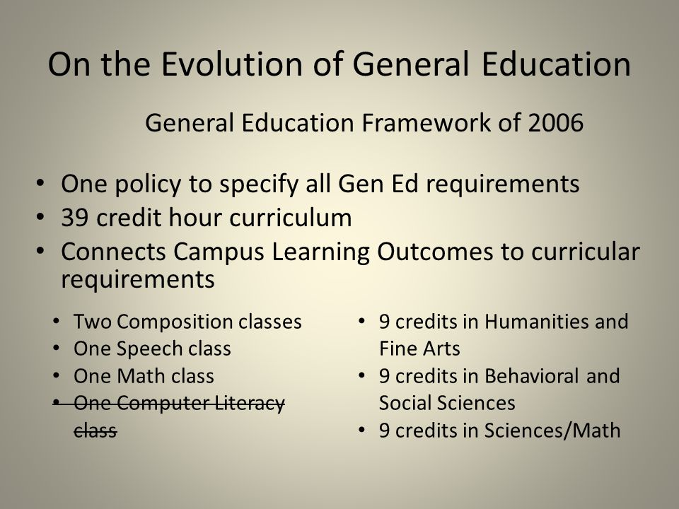 On the Evolution of General Education General Education Framework of 2006 One policy to specify all Gen Ed requirements 39 credit hour curriculum Connects Campus Learning Outcomes to curricular requirements Two Composition classes One Speech class One Math class One Computer Literacy class 9 credits in Humanities and Fine Arts 9 credits in Behavioral and Social Sciences 9 credits in Sciences/Math
