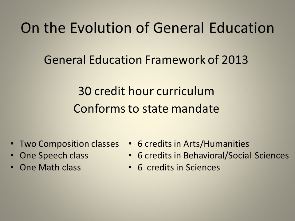 On the Evolution of General Education General Education Framework of credit hour curriculum Conforms to state mandate Two Composition classes One Speech class One Math class 6 credits in Arts/Humanities 6 credits in Behavioral/Social Sciences 6 credits in Sciences