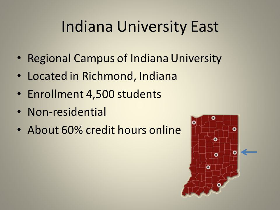 Indiana University East Regional Campus of Indiana University Located in Richmond, Indiana Enrollment 4,500 students Non-residential About 60% credit hours online