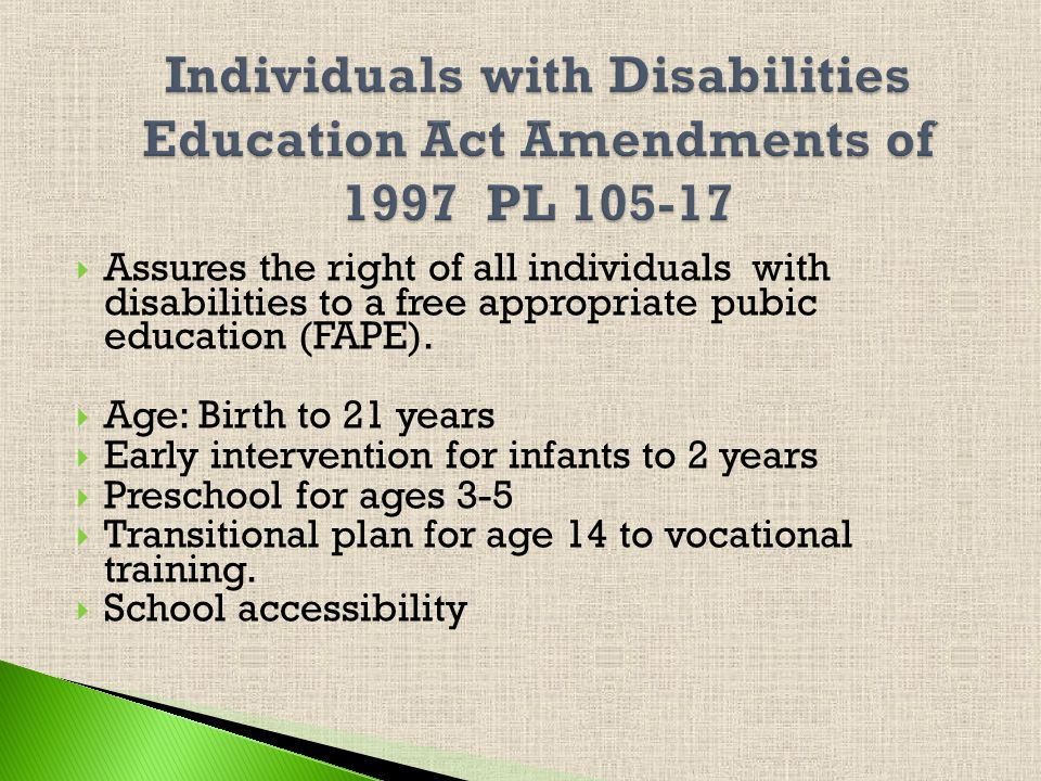 Civil rights law that enforces the non-discrimination of persons with disabilities.