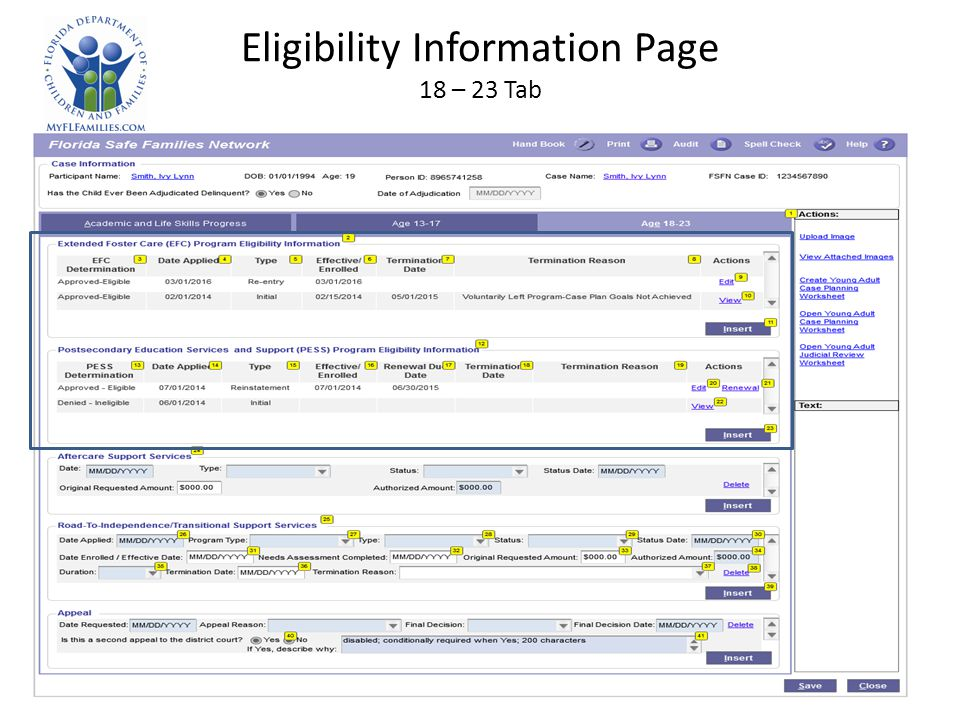 Eligibility Information Page 18 – 23 Tab