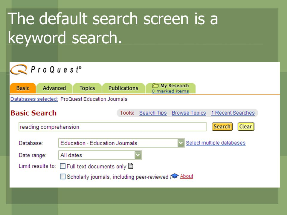 The default search screen is a keyword search.