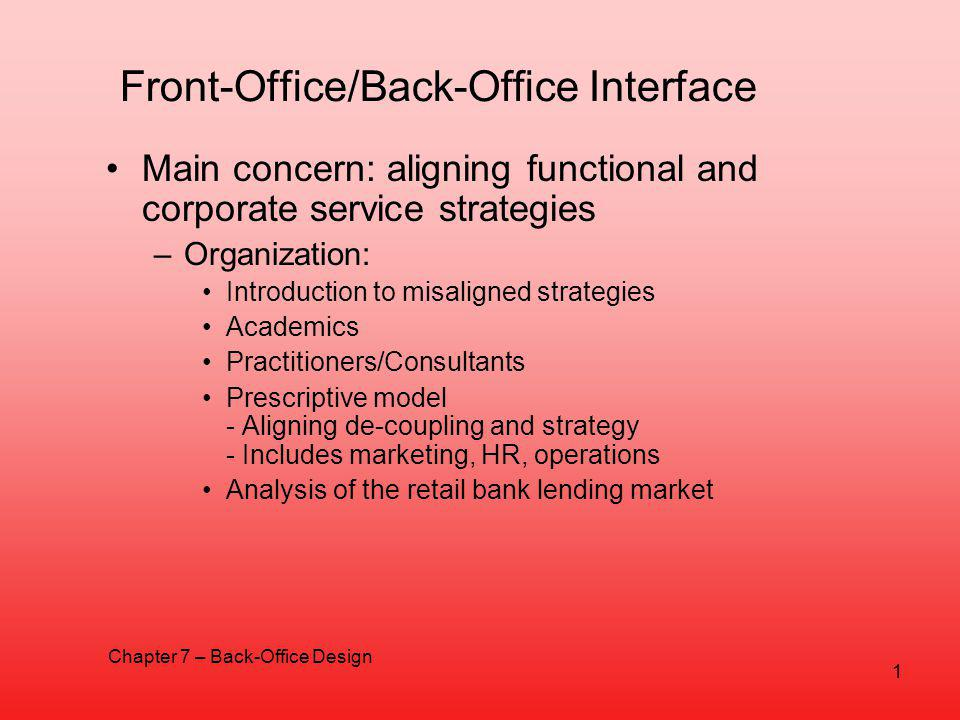 Back-Office Design Chapter 7  Front-Office/Back-Office Interface