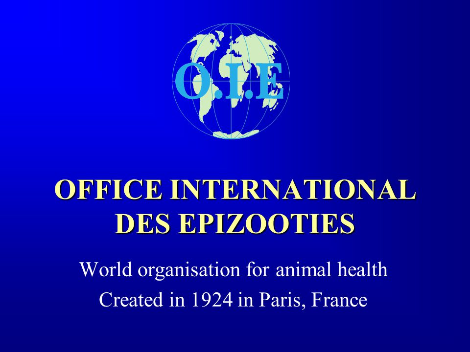 OFFICE INTERNATIONAL DES EPIZOOTIES World organisation for animal health Created in 1924 in Paris, France