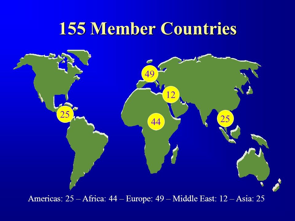 155 Member Countries Americas: 25 – Africa: 44 – Europe: 49 – Middle East: 12 – Asia: