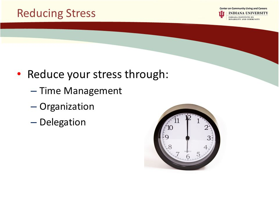 Reducing Stress Reduce your stress through: – Time Management – Organization – Delegation