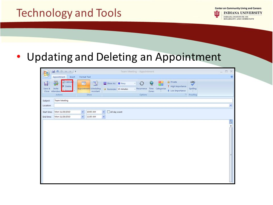 Technology and Tools Updating and Deleting an Appointment