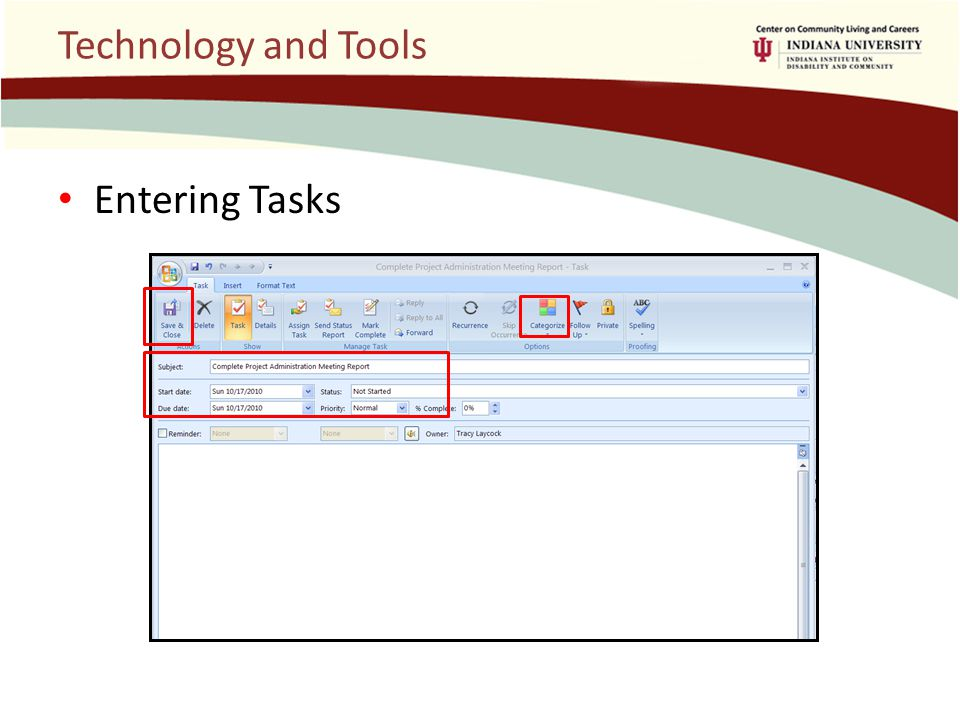 Technology and Tools Entering Tasks