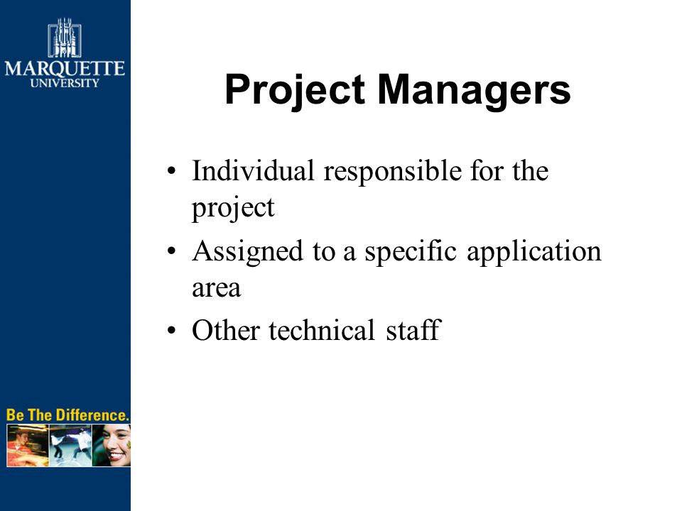 Project Managers Individual responsible for the project Assigned to a specific application area Other technical staff