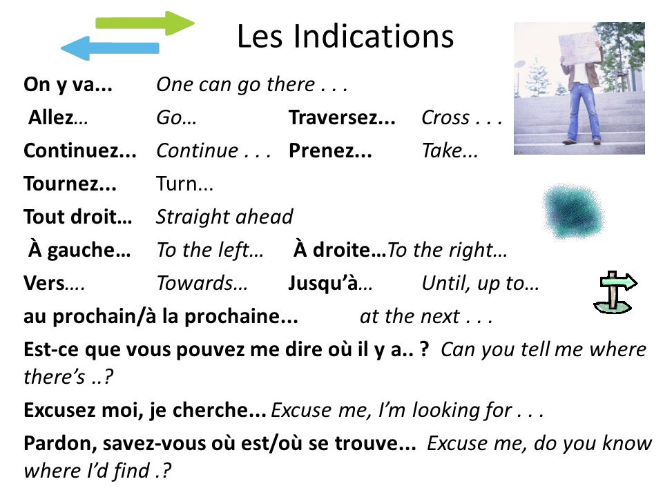 Les Indications On y va...One can go there... Allez…Go… Traversez...Cross...