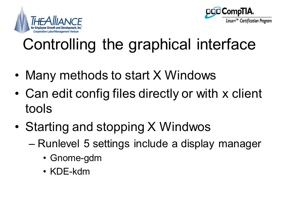 The X Windows system Unit objectives A Explain the purpose of GUI