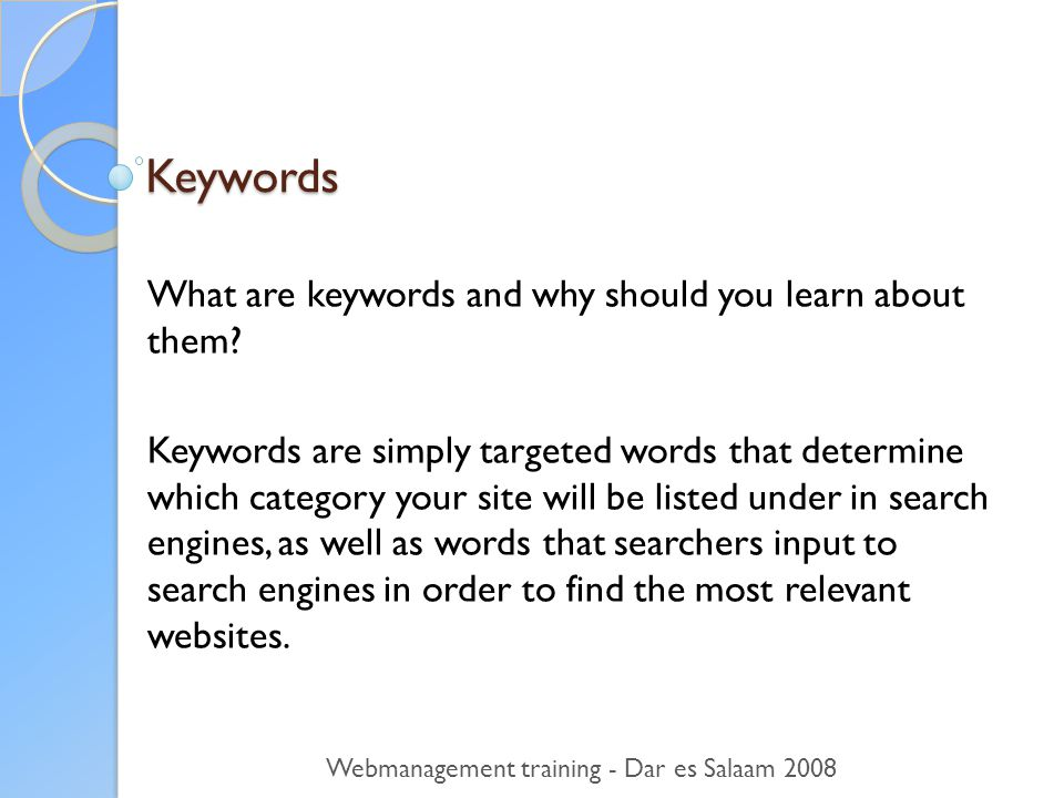 Keywords What are keywords and why should you learn about them.