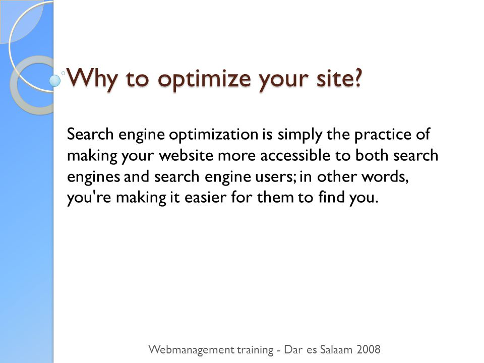 Why to optimize your site.